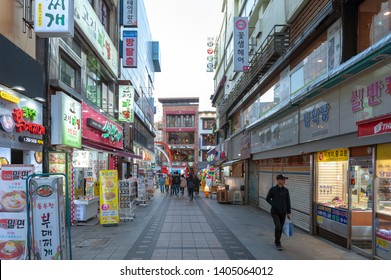 Busan, South Korea - April 2019: Nampodong shopping street near Busan International Film Festival (BIFF) Square, famous movie district and cultural tourist attraction in Busan City, South Korea