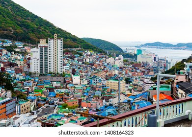 Busan, South Korea - April 2019: Scenic landscape of Gamcheon Culture Village, tourist attraction with brightly painted houses in Busan, South Korea