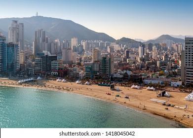 Busan, South Korea - April 2019: Cityscape view of coastal area of Busan at Gwangalli Beach, a popular tourist destination in Busan, South Korea