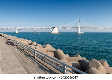 Busan, South Korea - April 2019: Scenic view of Busan Gwangandaegyo Bridge (Diamond Bridge), a suspension bridge connecting Haeundae-gu to Suyeong-gu in Busan, South Korea