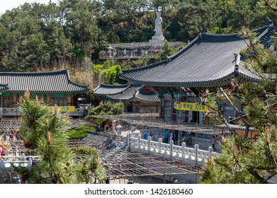 Busan, South Korea – April 2019: Haedong Yonggungsa, Buddhist temple situated on seaside of north-eastern Busan, one of tourist landmarks and attractions in Busan, South Korea