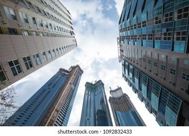 Busan, South Korea - APRIL 7, 2018: High skyscrapers in down town.
