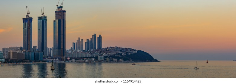 Busan, South Korea - Aug 20, 2018 : Haeundae LCT The Sharp in Busan, South Korea. Seen from Dongbaek Island. LCT buildings are under construction.