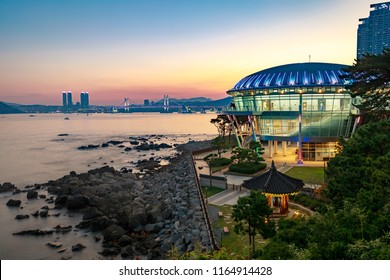 Busan, South Korea - Aug 20, 2018 : Night view at Nurimaru APEC house in Dongbaekseom Island, Haeundae district, South Korea, horizontal