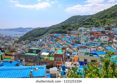 Busan, South Korea - Aug 5, 2018 : Panorama view of Gamcheon Culture Village located in Busan city of South Korea