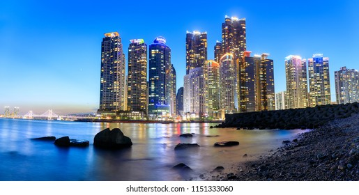 Busan, South Korea - Aug 8, 2018 : Skyscrapers of the Marine City in Haeundae waterfront district in Busan. view from The bay 101.