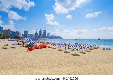 BUSAN, SOUTH KOREA - AUGUST 03:Haeundae Beach on August 03,2017 in Busan, South Korea.
