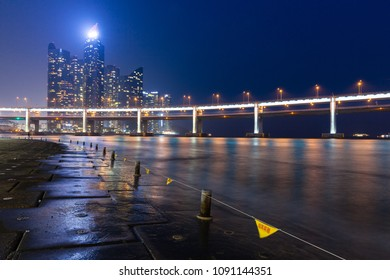 Busan, South Korea - August 23 2014: Night view of the Haeundae IPark skyscrapers, Busan, South Korea.