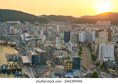 BUSAN, SOUTH KOREA - CIRCA MAY, 2017: view of Busan from Lotte Department Store. Busan, formerly known as Pusan, is South Korea's second most-populous city after Seoul.