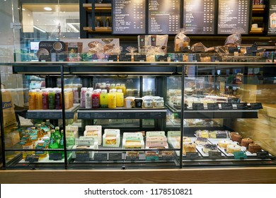 BUSAN, SOUTH KOREA - CIRCA MAY, 2017: display case at Starbucks coffee shop in Busan. Starbucks Corporation is an American coffee company and coffeehouse chain.