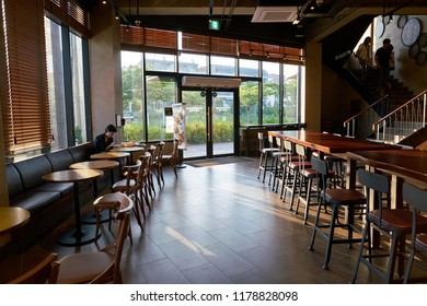 BUSAN, SOUTH KOREA - CIRCA MAY, 2017: inside Starbucks coffee shop in Busan. Starbucks Corporation is an American coffee company and coffeehouse chain.
