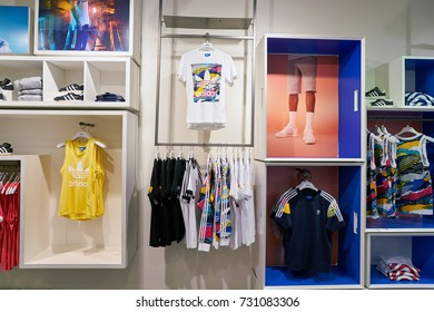 BUSAN, SOUTH KOREA - CIRCA MAY, 2017: inside Adidas store at  Lotte Department Store in Busan