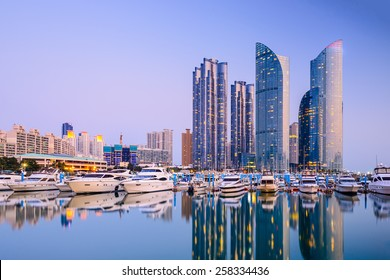 Busan, South Korea city skyline in the Haeundae district.