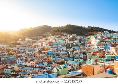 Busan, South Korea famous colorful Gamcheon Village.