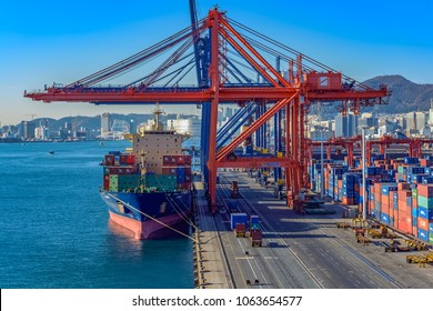 BUSAN, SOUTH KOREA - Jan 03, 2018: Cargo operations on container cargo terminal of Port of Busan, Korea's busiest and the 10th-busiest in the world.