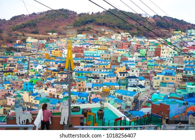 BUSAN, SOUTH KOREA - January 14,2018: soft photo woman traveling to cityscape in Busan Gamcheon Culture Village (Taeguekdo Village)Location is the busan south korea.