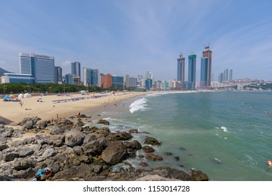 Busan, South Korea - Jul 12, 2018 : Haeundae beach scenery at summer season