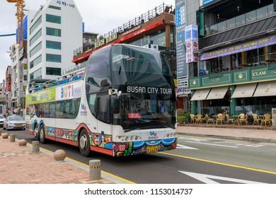 Busan, South Korea - Jul 7, 2018 : Busan city tour bus at Gwangalli Beach in Busan city