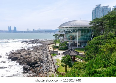 Busan, South Korea - Jul 7, 2018 : Nurimaru APEC House locate on Haeundae Dongbaekseom Island in Busan, South Korea.