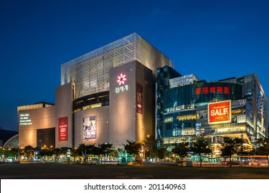 BUSAN, SOUTH KOREA - JUNE 22:  Shinsegae Department store on June 22, 2014 in Busan South Korea.  Shinsegae is the largest department store in the world located in Centum City, Busan, South Korea.