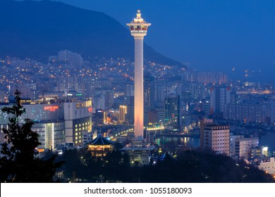 Busan, South Korea - March 24, 2018 : Busan city skyline and Busan tower at night in Korea