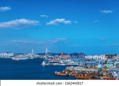 Busan, South Korea MARCH 31, 2019: Busan city skylight and Downtown cityscape of Busan, South Korea