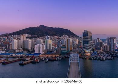 Busan, South Korea MARCH 31, 2019: Beautiful Busan city night scene taken in Busan, South Korea.