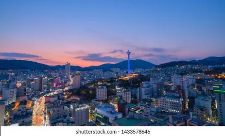 Busan, South Korea MARCH 31, 2019: Night view of Busan Tower and Beautiful Busan city night scene taken in Busan, South Korea.