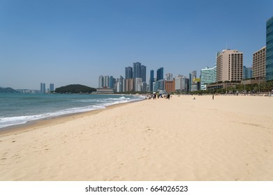 BUSAN, SOUTH KOREA, MAY 01, 2017: Haeundae Beach in daylight