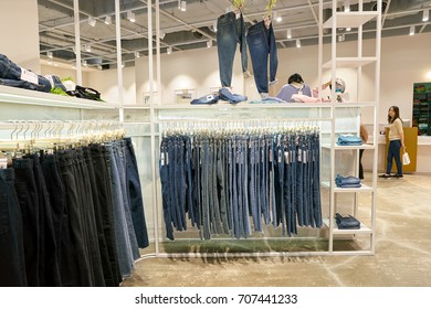 BUSAN, SOUTH KOREA - MAY 25, 2017: goods on display at a store at Lotte Mall in Busan.