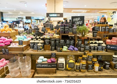 BUSAN, SOUTH KOREA - MAY 28, 2017: cosmetic products sit on display for sale at Lush store in Lotte Department Store. Lush Ltd. is a cosmetics retailer.