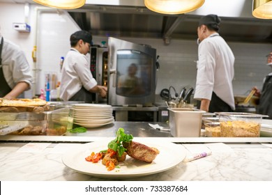 BUSAN, SOUTH KOREA - MAY 28, 2017: close up shot a plate at The Place at Lotte Department Store
