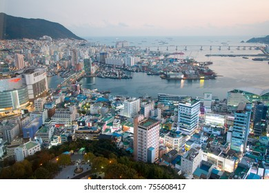BUSAN, SOUTH KOREA. NOV 4, 2017 -  A panoramic view from Busan Tower overlooks the Busan city and the Busan harbor.