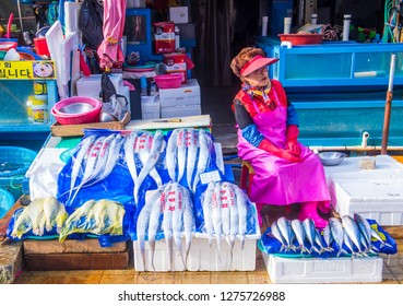 BUSAN , SOUTH KOREA - OCT 10 : The Jagalchi Fish Market in Busan South Korea on October 10 2018. The market is located on the edge of Nampo Port