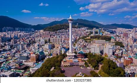Busan, South Korea - October 2018 : Aerial view of Busan city, South Korea. Aerial view from drone.