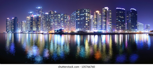 Busan, South korea panoramic skyline at Haeundae District.