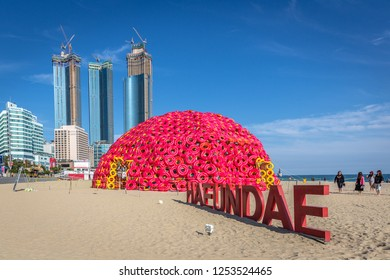Busan, South Korea - Sep 10th 2018 - The beach of Haeundae decorated for the film festival of 2018 in Busan, South Korea