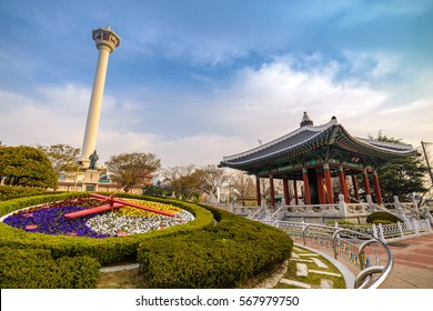 Busan Tower and flower clock,  Busan, Korea