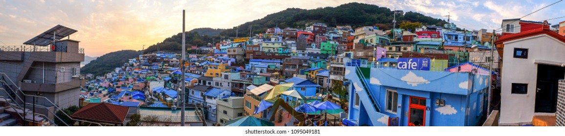 BUSAN,SOUTH KOREA NOVEMBER 2,2017:  Gamcheon Culture Village  .The area is known for its brightly painted houses, which have been restored and enhanced in recent years to attraction touris