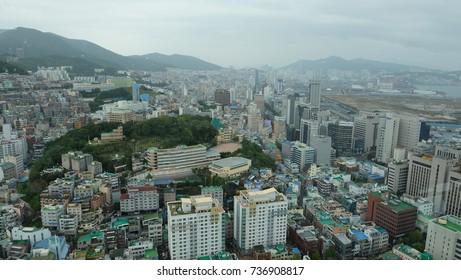 BUSAN/SOUTH KOREA - October 15, 2017 : Scenery of Busan city from the Busan tower