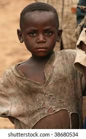 BUSANZA, KISORO, UGANDA  - NOV 2 : An unidentified refugee from Democratic Republic of Congo at the border village of Busanza November 2, 2008 in Kisoro, Uganda.