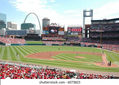 Busch Stadium in Saint Louis with the arch in the background