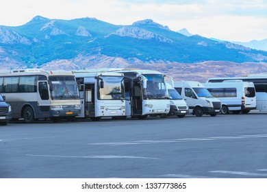 Buses in the Parking lot in the mountains