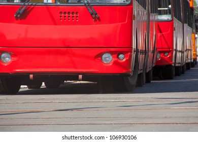 Buses in a row on rush hour traffic jam