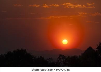 Bush fire sunset