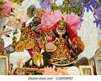 BUSHEY, JUNE 06, Fire offering to Radha and Krishna deities on the altar of devotees from Hare Krishna, UK 2016