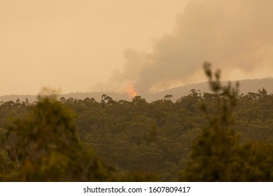 Bushfire burning in The Blue Mountains in Australia with considerable black smoke