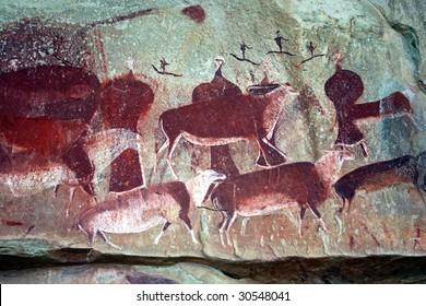 Bushman rock paintings in Kamberg, South Africa
