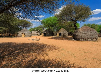 Bushman traditional african huts near Ghanzi, Botswana