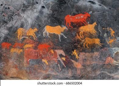 Bushmen (san) rock painting of antelopes, South Africa